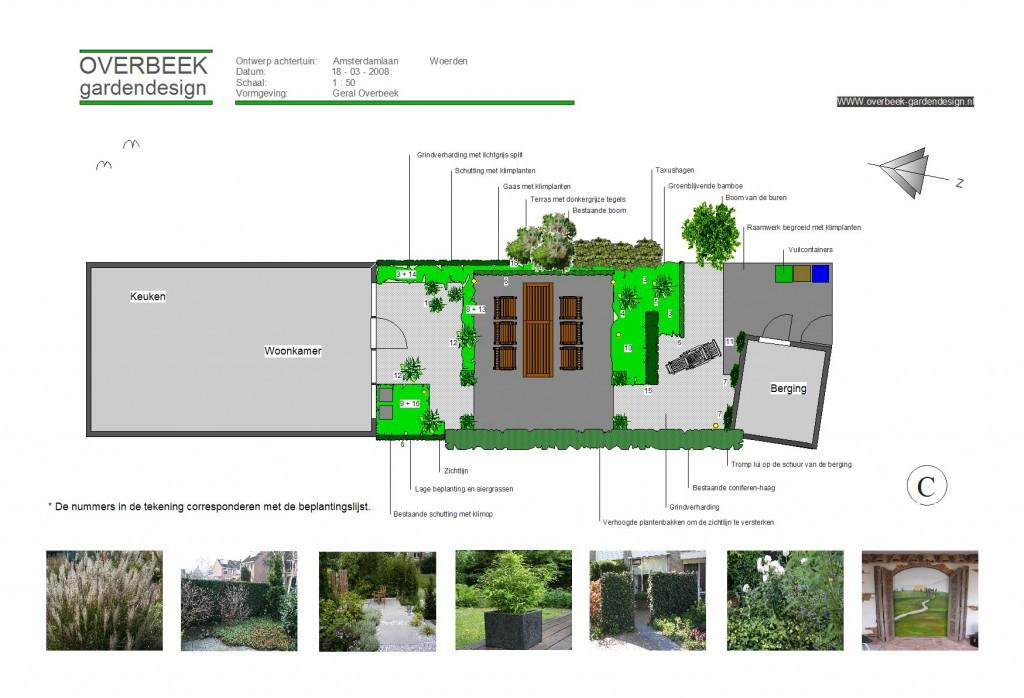Tuinontwerp van achtertuin met centraal terras in Woerden